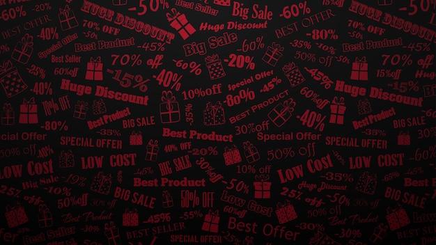 Tło dotyczące rabatów i ofert specjalnych, wykonane z napisów i pudełek prezentowych, czerwone na czarnym