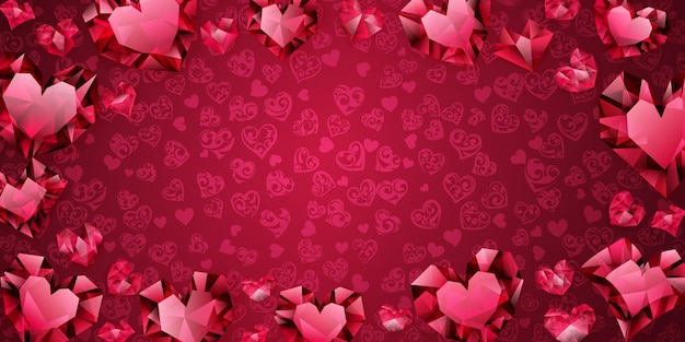 Tło duże, małe i kilka kryształowych serc w czerwonych kolorach. ilustracja na walentynki