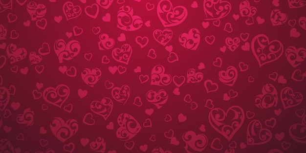 Tło dużych i małych serc z ornamentem loków, w karmazynowych kolorach