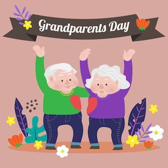 Tło dziadków dzień z pięknym ogrodem