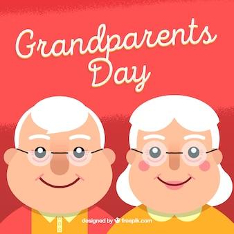 Tło dziadków para z okularami i szczęśliwy