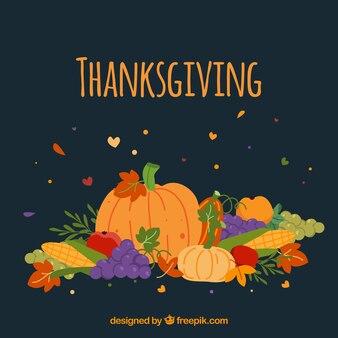 Tło dziękczynienia z dyni i inne potrawy