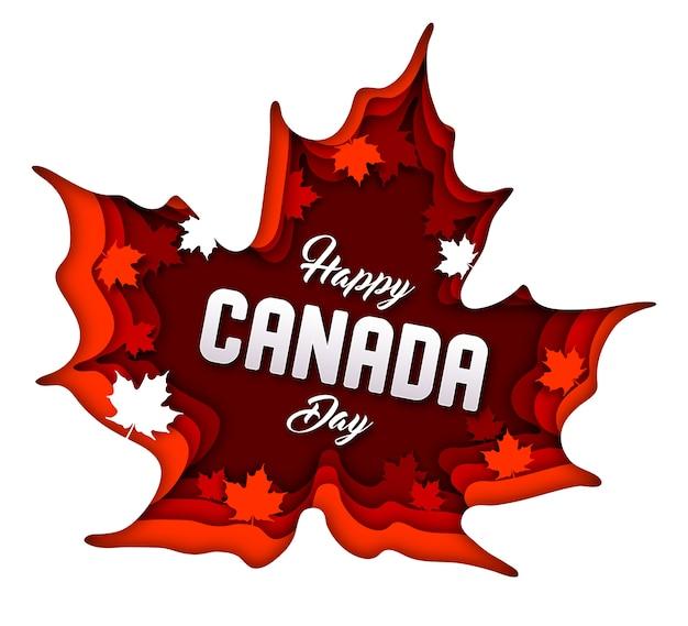 Tło dzień kanady. sztuka papierowa z liśćmi klonu