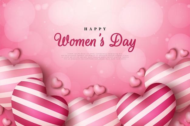 Tło dzień kobiet z balonami miłości i rozrzuconymi okręgami gradientowymi.