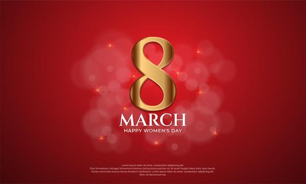 Tło dzień kobiet z ilustracją numer 8 w kolorze złotym na czerwono