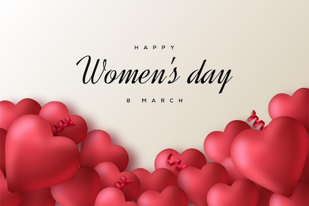 Tło dzień kobiet z numerami i miłością balony