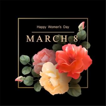 Tło dzień kobiet ze złotą ramą i pięknymi różami