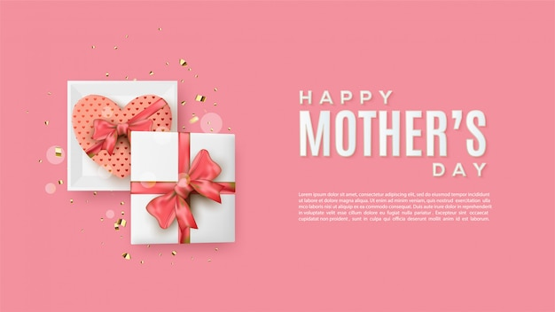 Tło dzień matki z ilustracjami kwadrat i miłość pudełko.