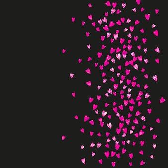 Tło dzień matki z konfetti różowy brokat. symbol na białym tle serca w kolorze róży. pocztówka na dzień matki. motyw miłości do kuponu, specjalny baner biznesowy. szablon świąteczny dla kobiet
