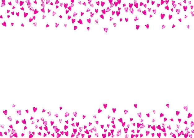 Tło dzień matki z konfetti różowy brokat. symbol na białym tle serca w kolorze róży. pocztówka na tle dzień matki. motyw miłości na plakat, bon upominkowy, baner. święto kobiet