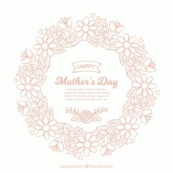Tło dzień matki z kwiatowymi ornamentami