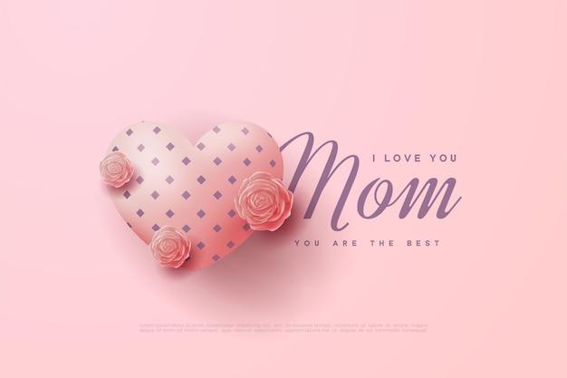 Tło dzień matki z różowe balony miłości.