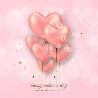 Tło dzień matki z różowe balony.
