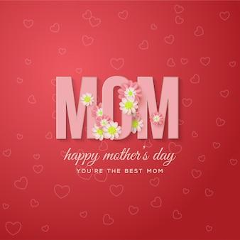 Tło dzień matki z różowym piśmie na czerwonym tle.
