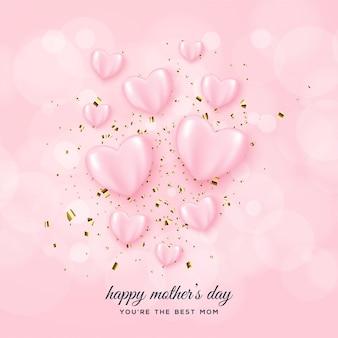 Tło dzień matki z różowymi balonami miłości.