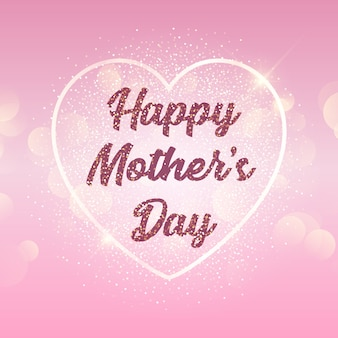 Tło dzień matki z sercem na bokeh świateł