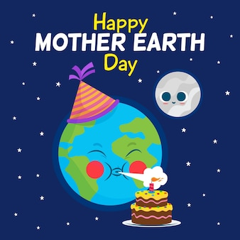 Tło dzień matki ziemi w płaska konstrukcja