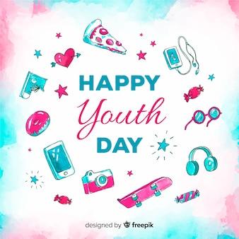 Tło dzień młodzieży akwarela