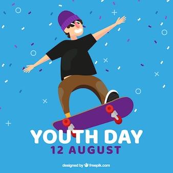 Tło dzień młodzieży z chłopiec skate