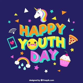 Tło dzień młodzieży z elementami