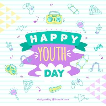 Tło dzień młodzieży z różnych elementów