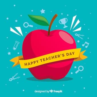 Tło dzień nauczyciela płaski świat
