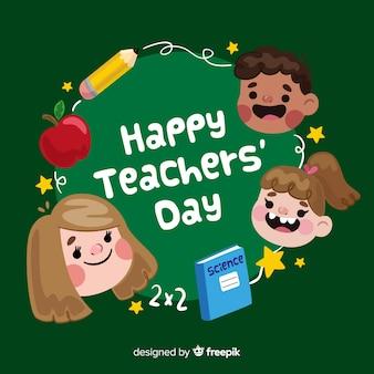 Tło dzień nauczyciela z dziećmi w płaski kształt