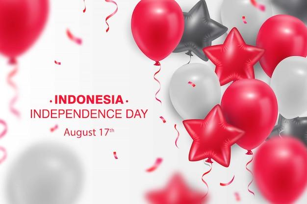 Tło dzień niepodległości indonezji z realistycznym czerwono-białym balonem