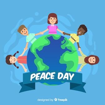 Tło dzień pokoju dzieci trzymając się za ręce na całym świecie