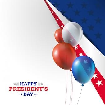 Tło dzień prezydenta usa z realistycznymi balonami