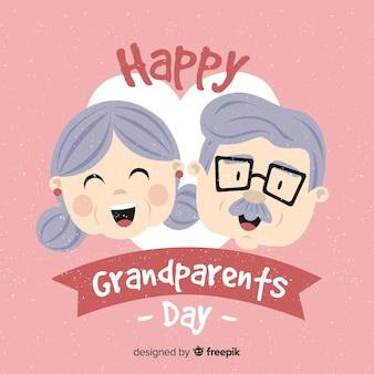 Tło dzień ślicznych dziadków w płaska konstrukcja