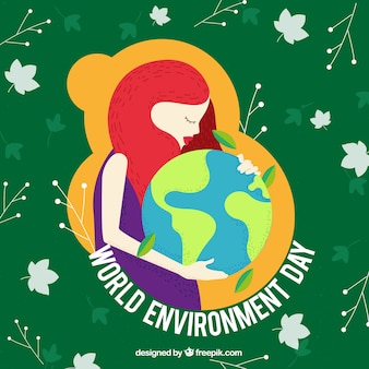 Tło dzień środowiska z kobietą obejmującego świata