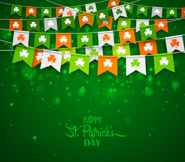 Tło dzień świętego patryka. kolorowe girlandy flagi z koniczyny. banner wakacje