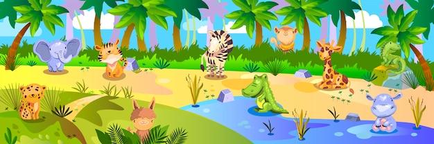 Tło dżungli z tropikalnymi zwierzętami: lampart, słoń, tygrys, żyrafa, zebra, hipopotam.