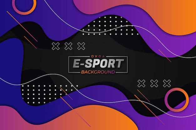 Tło e-sportowe fioletowy pomarańczowy płynny styl