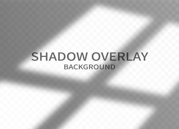 Tło efektu nakładki cienia. monochromatyczny abstrakcyjny wzór makieta. cień ramy okna i miękkie światło na przezroczystym tle. ilustracja wektorowa.