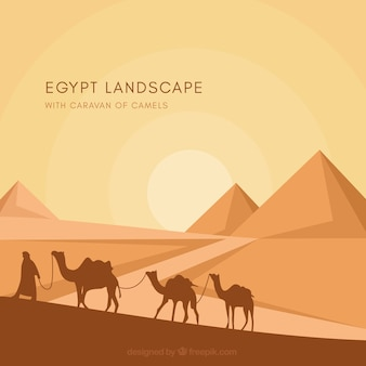 Tło egiptu ostrosłupa krajobraz z karawaną wielbłądy