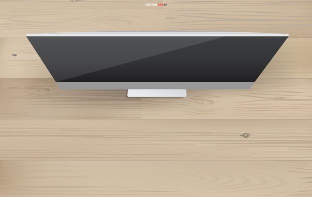 Tło ekranu komputera miejsca pracy z obiektu biurowego na drewno