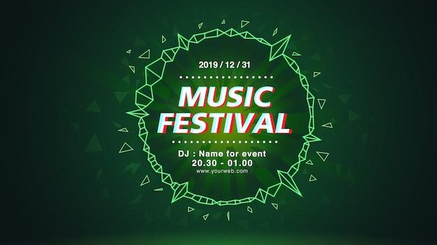 Tło ekranu sieciowego festiwalu muzyki w zielonym motywem