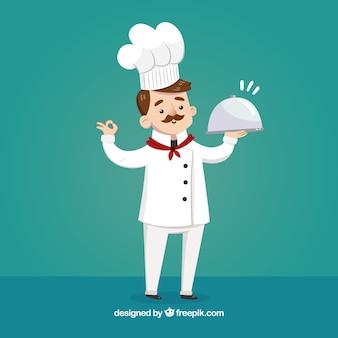 Tło eleganckiego kucharza z tacą