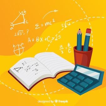 Tło elementy matematyczne kreskówka