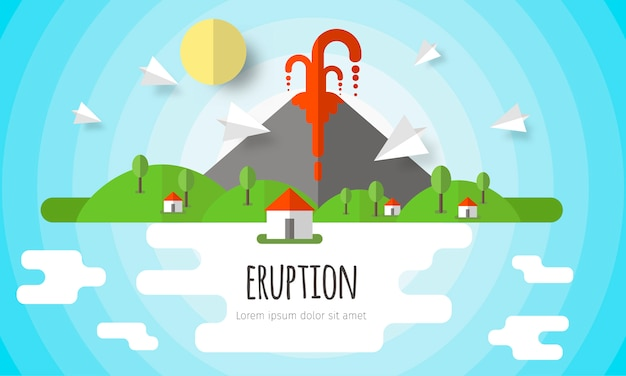 Tło erupcji wulkanu