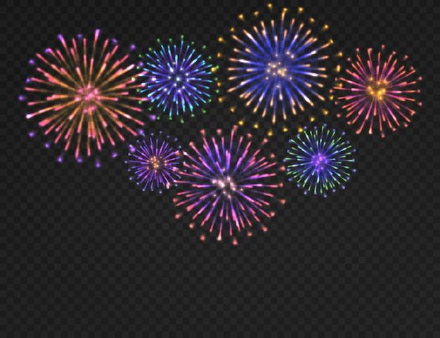 Tło fajerwerków. na białym tle salut karnawałowy na przezroczystym tle. świąteczny boże narodzenie, nowy rok