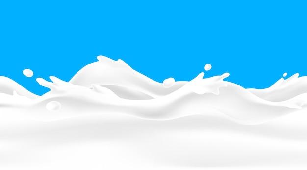 Tło fala mleka. płynny przepływ jogurtu z kroplami i rozpryskami, realistyczne obramowanie 3d do projektowania opakowań nabiałowych. element ramy obrazu wektorowego krem lub napój mleczny