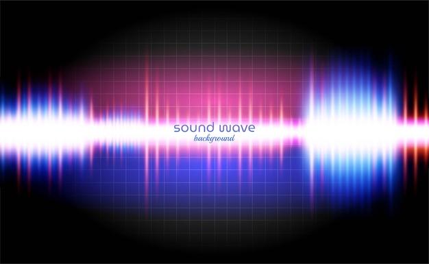 Tło fali dźwiękowej z neonowym światłem kolorowe