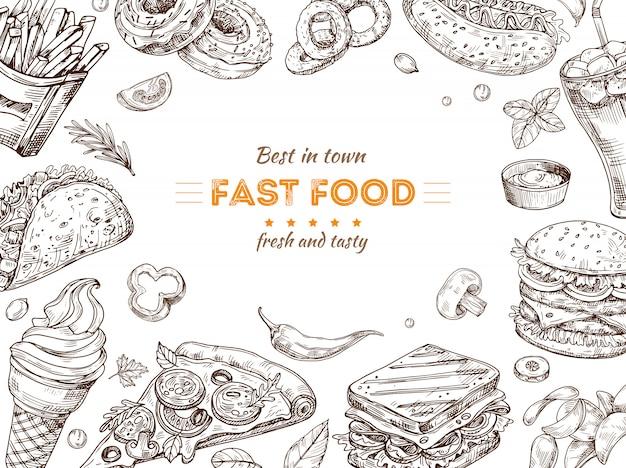 Tło fast food szkic, rysunek hamburgera, przekąski cola. doodle lody, pizzę i kanapkę. plakat wektor restauracja fast food