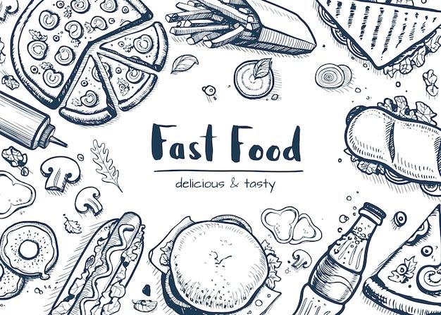 Tło fast foodów z kolekcji przekąsek