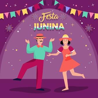 Tło festa junina z ludźmi tańczącymi