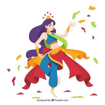 Tło festiwalu holi z tańczącą kobietą