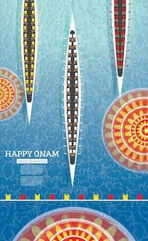 Tło festiwalu łodzi onam. południowy festiwal kerala w indiach. ilustracja wektorowa.